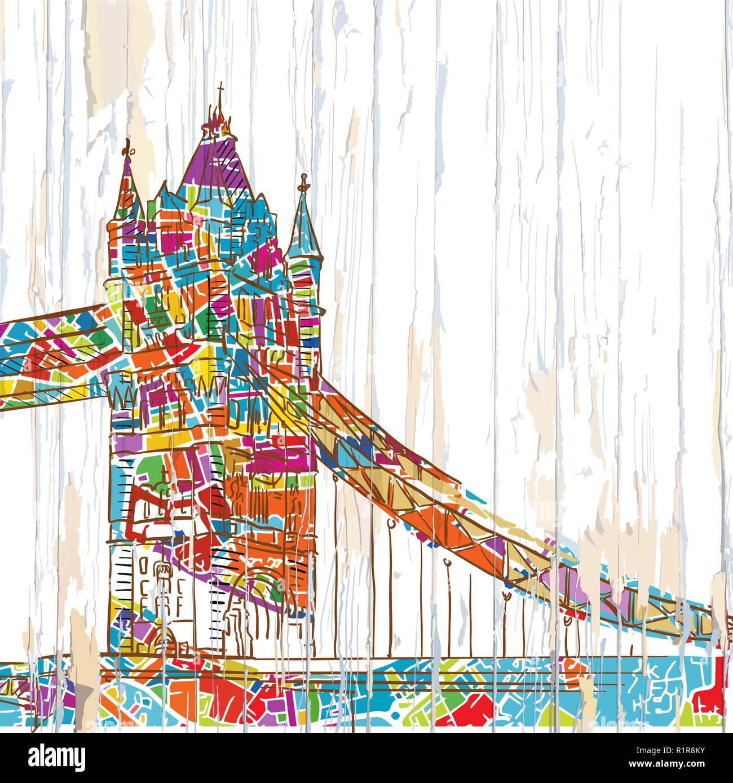 London tower bridge drawing. Hand-drawn vector vintage illustration. - Stock Image