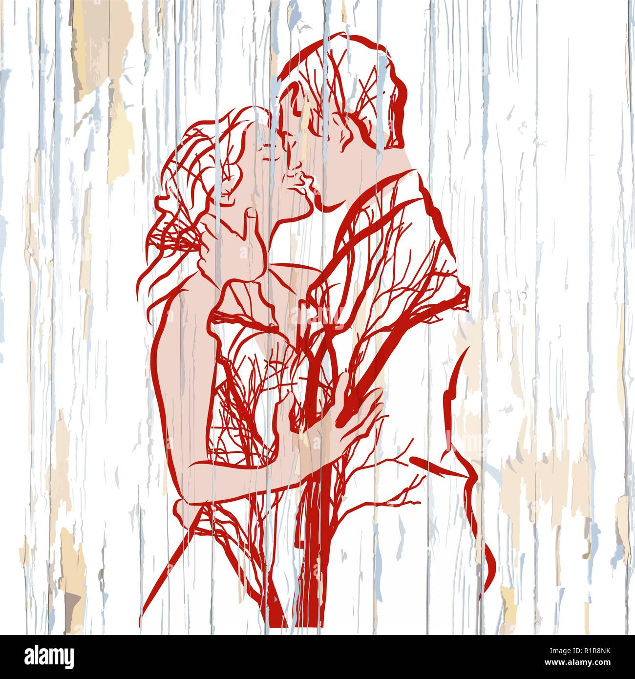 Vintage kissing couple with trees on wood. Hand-drawn vector vintage illustration. - Stock Image