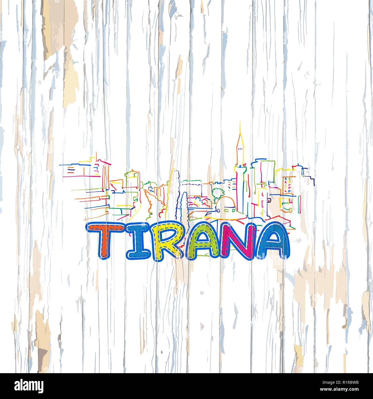 Colorful Tirana drawing on wooden background. Hand drawn vector illustration. - Stock Vector
