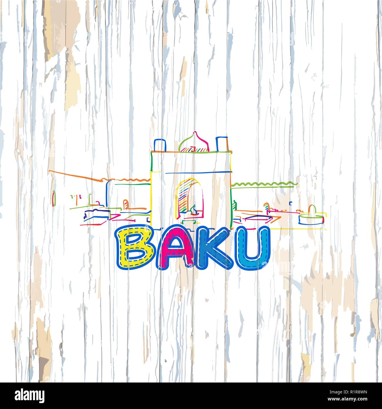 Colorful Baku drawing on wooden background. Hand drawn vector illustration. - Stock Vector