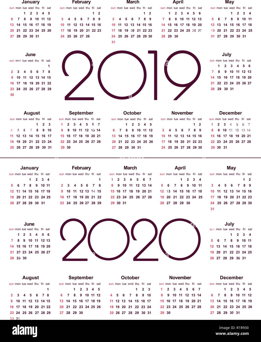 Calendar 2019 And 2020 Year Simple Vector Template Stationery