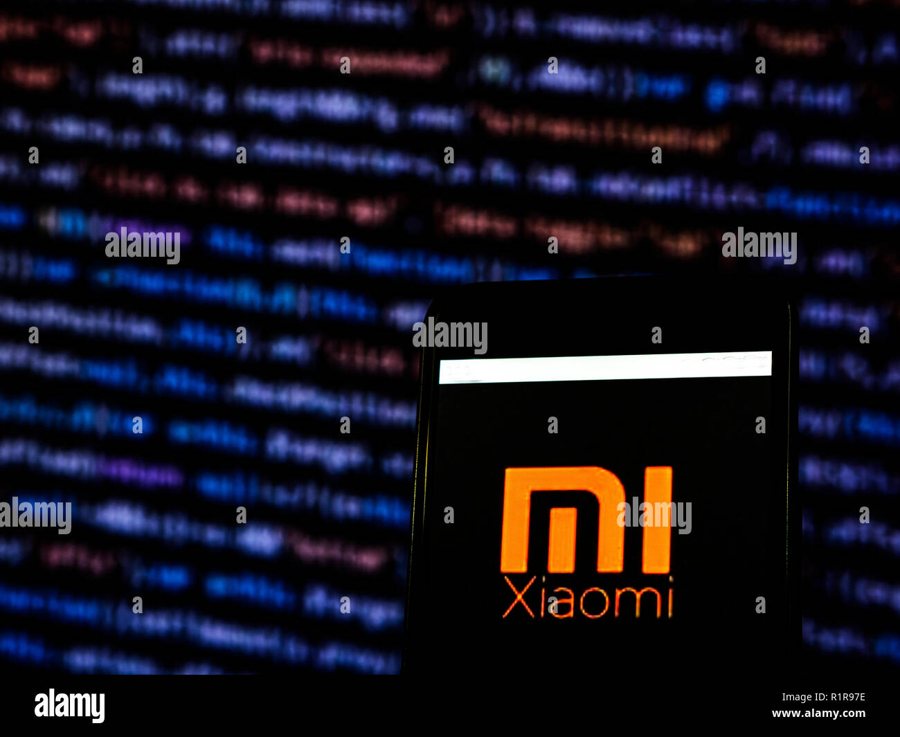 Xiaomi Consumer electronics company logo seen displayed on smart