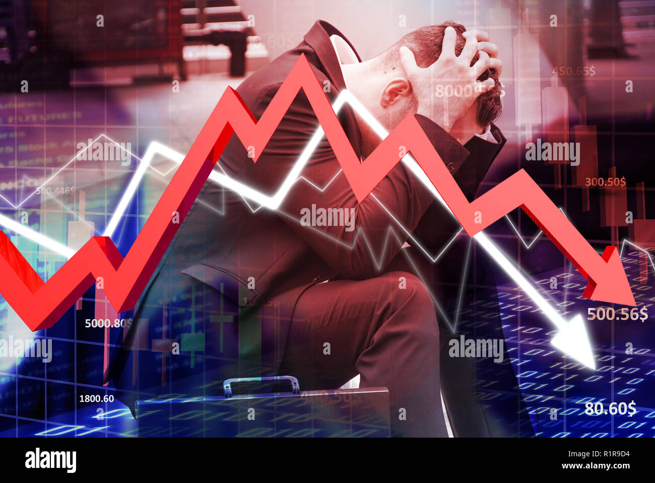 Businessman sit on the stairs and feel stressed with transparency chart price and red arrow down direction. Stock Photo