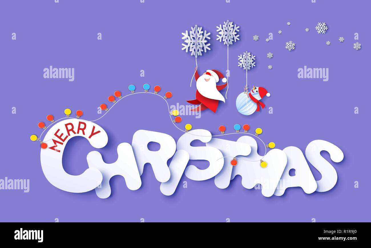 merry christmas design card with santa claus snowman flying with