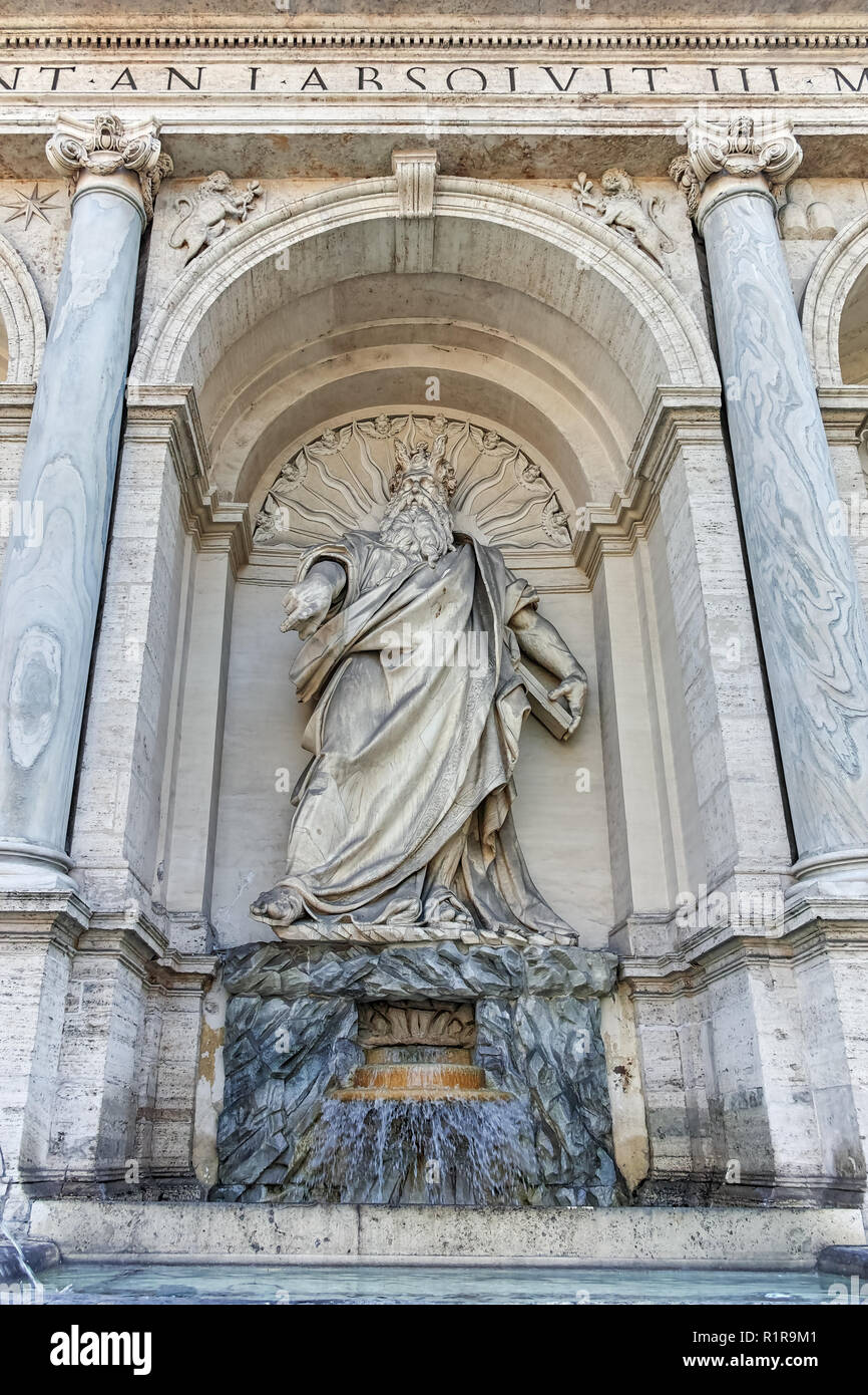 ROME, ITALY - JUNE 22, 2017: Amazing view of Fountain of Moses (Fountain Acqua Felice) in city of Rome, Italy - Stock Image