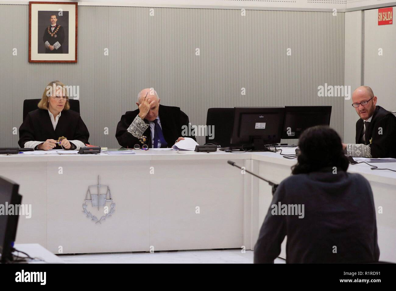 Madrid, Spain. 14th Nov, 2018. Jihadist suspect Allal el Mourabit Ahammar (R) stands trial at the Spanish National Court in Madrid, Spain, 14 November 2018. Ahammar was arrested in 2016 after suspicions that he was plotting a truck attack similar to 2016 Nice attack. Credit: Fernando Alvarado/EFE/Alamy Live News - Stock Image