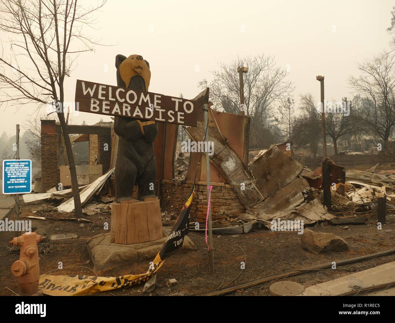 Paradise, USA. 13th Nov, 2018. A sign with the inscription 'Welcome to Bearadise' and burned out debris after the forest fire, the so-called 'Camp' fire. (to dpa 'Paradise as hell on earth - 'Will create a new church' of 14.11.2018) Credit: Barbara Munker/dpa/Alamy Live News - Stock Image
