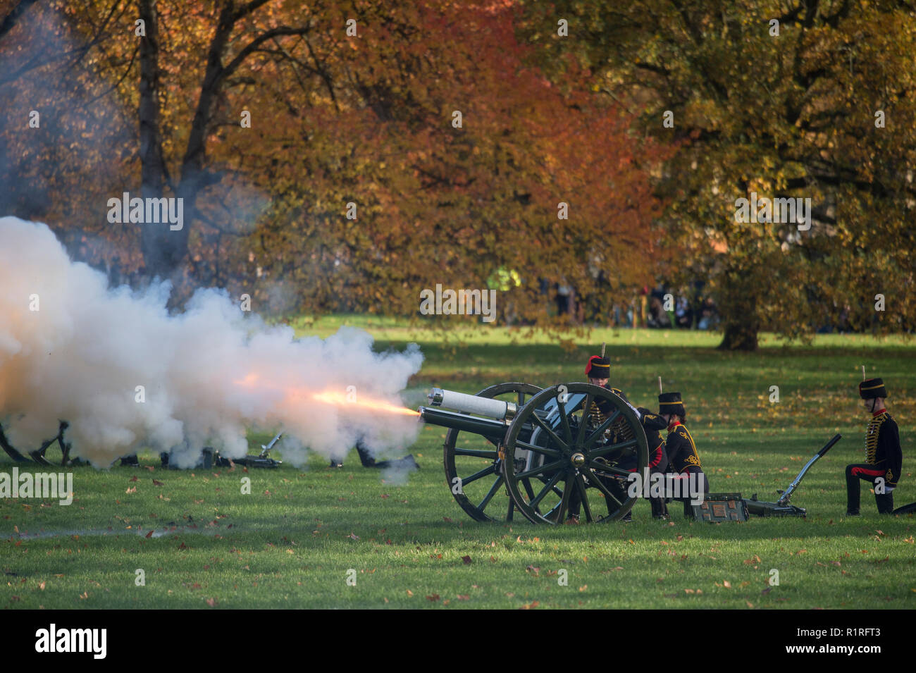 Green Park, London, UK. 14 November, 2018. In honour of His Royal Highness The Prince of Wales's 70th birthday, The King's Troop Royal Horse Artillery, the ceremonial saluting battery of Her Majesty's Household Division, fire a 41-gun Royal Salute from autumnal Green Park at 12 midday on Wednesday 14th November. Credit: Malcolm Park/Alamy Live News. - Stock Image