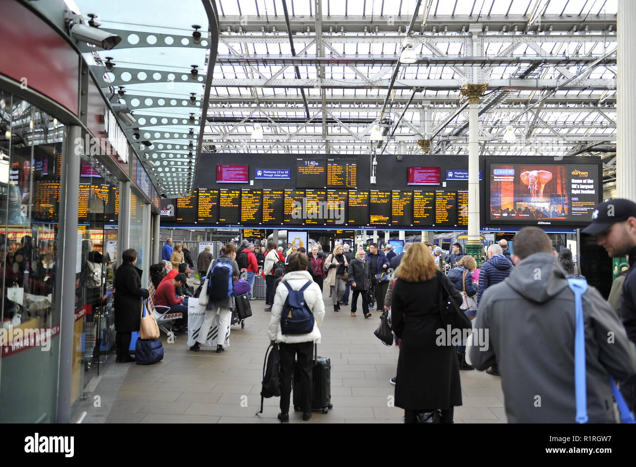 Edinburgh, UK. 14th Nov, 2018. Destination - who knows? A rally at Waverley station ahead of a Holyrood vote calling for the ScotRail break clause to be exercised, Scottish Labour leader Richard Leonard and Transport spokesperson Colin Smyth were in attendance . Credit: Colin Fisher/Alamy Live News Stock Photo