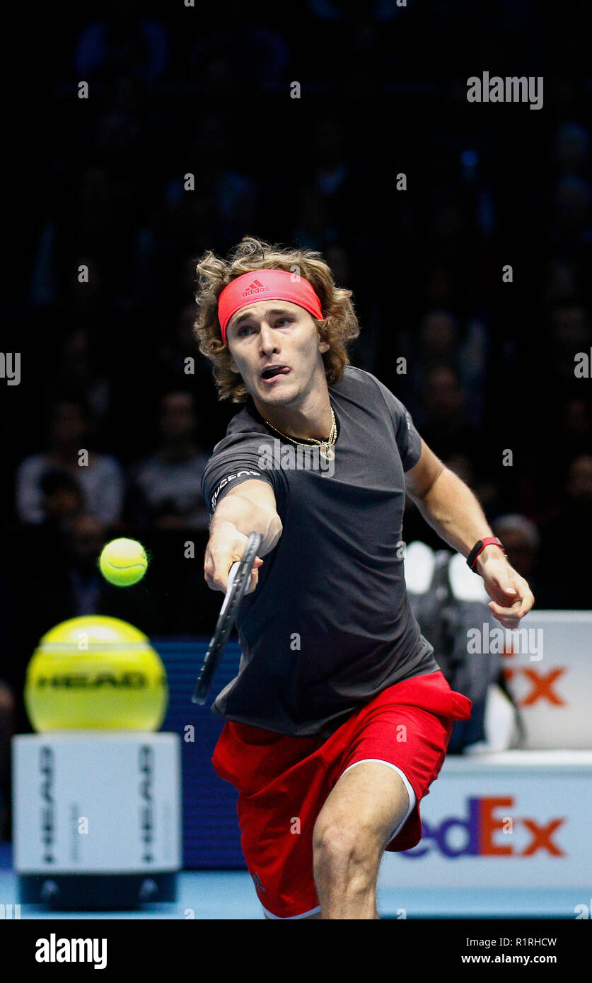 London, UK. 14th November, 2018. 14th November 2018, O2 Arena, London, England; Nitto ATP Tennis Finals; Alexander Zverev (GER) plays a backhand volley shot in his match against Novak Djokovic (SRB) Credit: Action Plus Sports Images/Alamy Live News - Stock Image