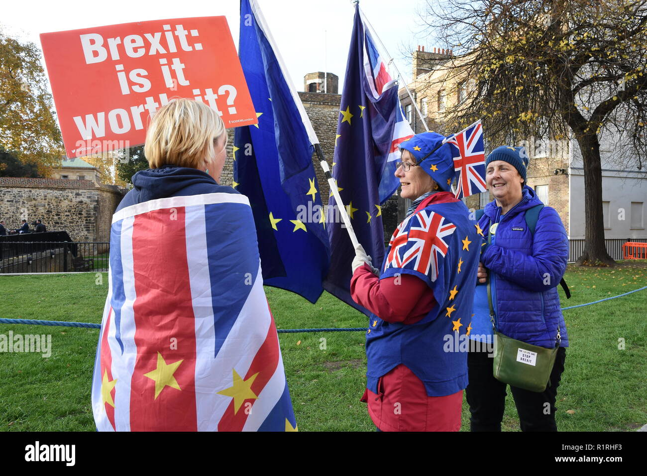 London, UK. 14th November, 2018. Members of the Stand of Defiance European Movement continued their Anti Brexit Protest on the day that Theresa May sought cabinet backing for her Brexit plan.College Green,Houses of Parliament,London.UK Credit: michael melia/Alamy Live News - Stock Image