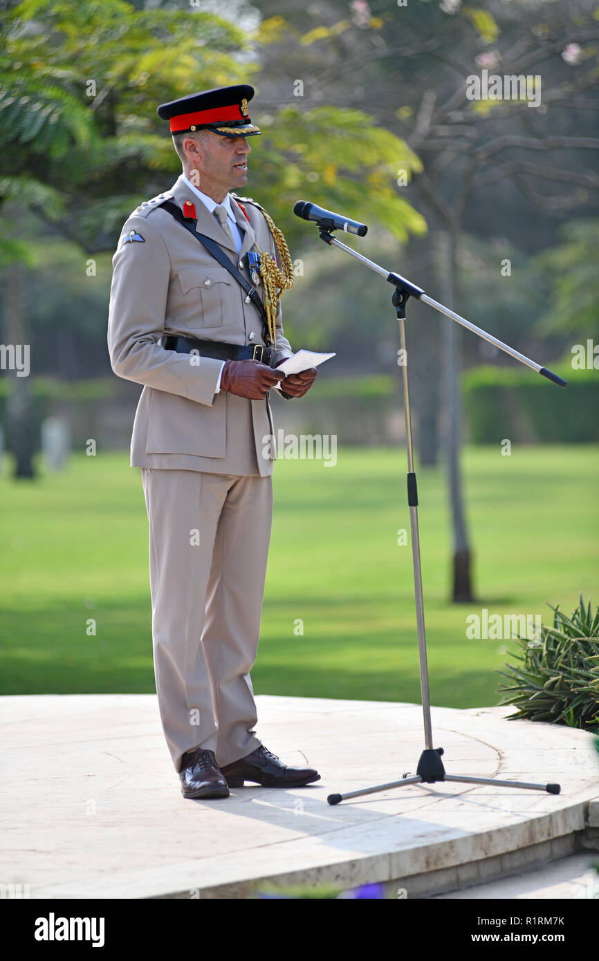 British Defense Attache Colonel Edward Sandry during a speech at the beginning of the commemoration ceremony at the Commonwealth Cemetery in Heliopolis on the occasion of the centenary of the ceasefire on November 11, 1918, taken on November 11, 1818. This historic event was commemorated in Cairo with wreath-laying ceremonies and solemn ceremonies of former war participants. It was preceded in the morning by the joint German-French kick-off event at the German Protestant High School in Cairo, followed by a wreath-laying ceremony at the German and French cemeteries in Cairo, followed by a recep Stock Photo