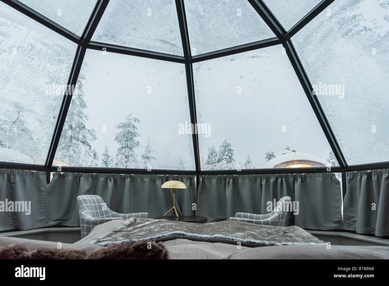 Glass igloo accommodation in Lapland near Sirkka, Finland - Stock Image