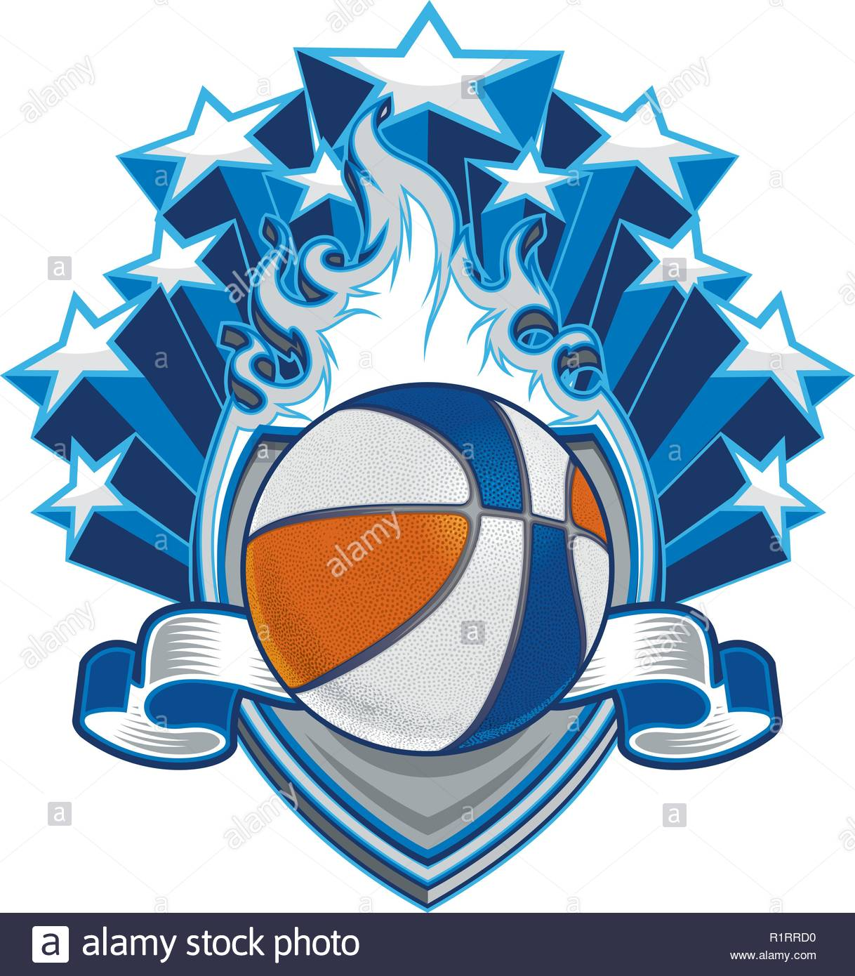 A basketball design resource of a flaming shield with a banner and stars emanating from its rear - Stock Vector