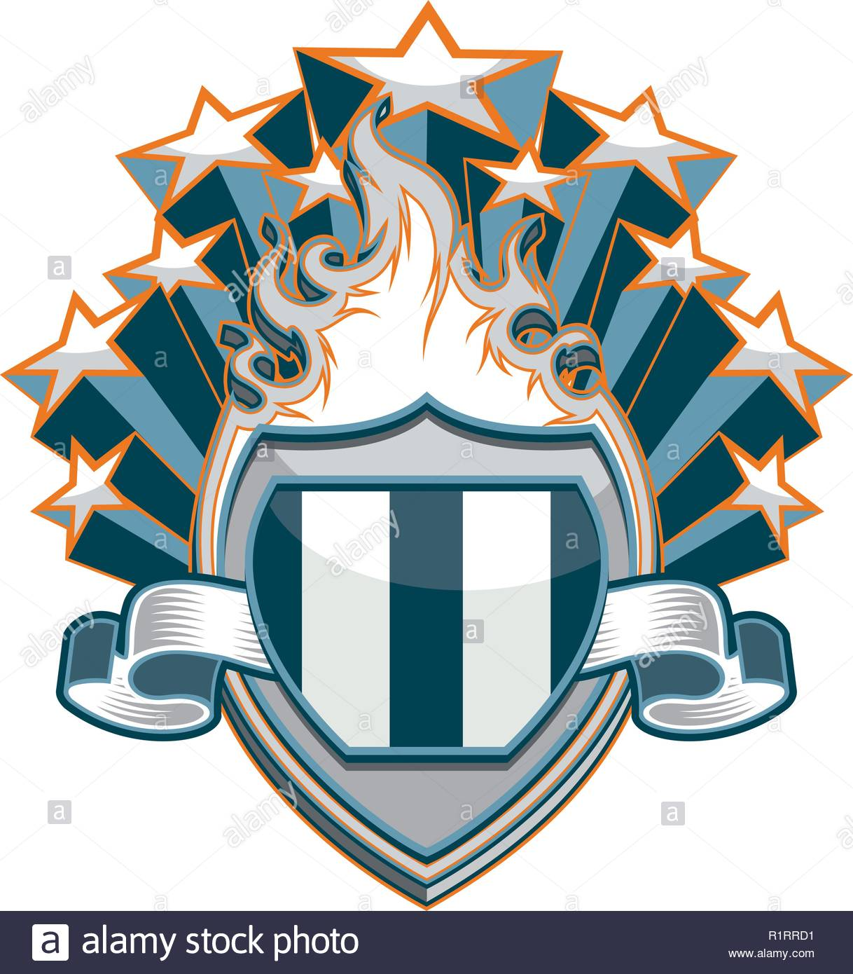 A generic design resource of a flaming shield with a banner and stars emanating from its rear - Stock Vector
