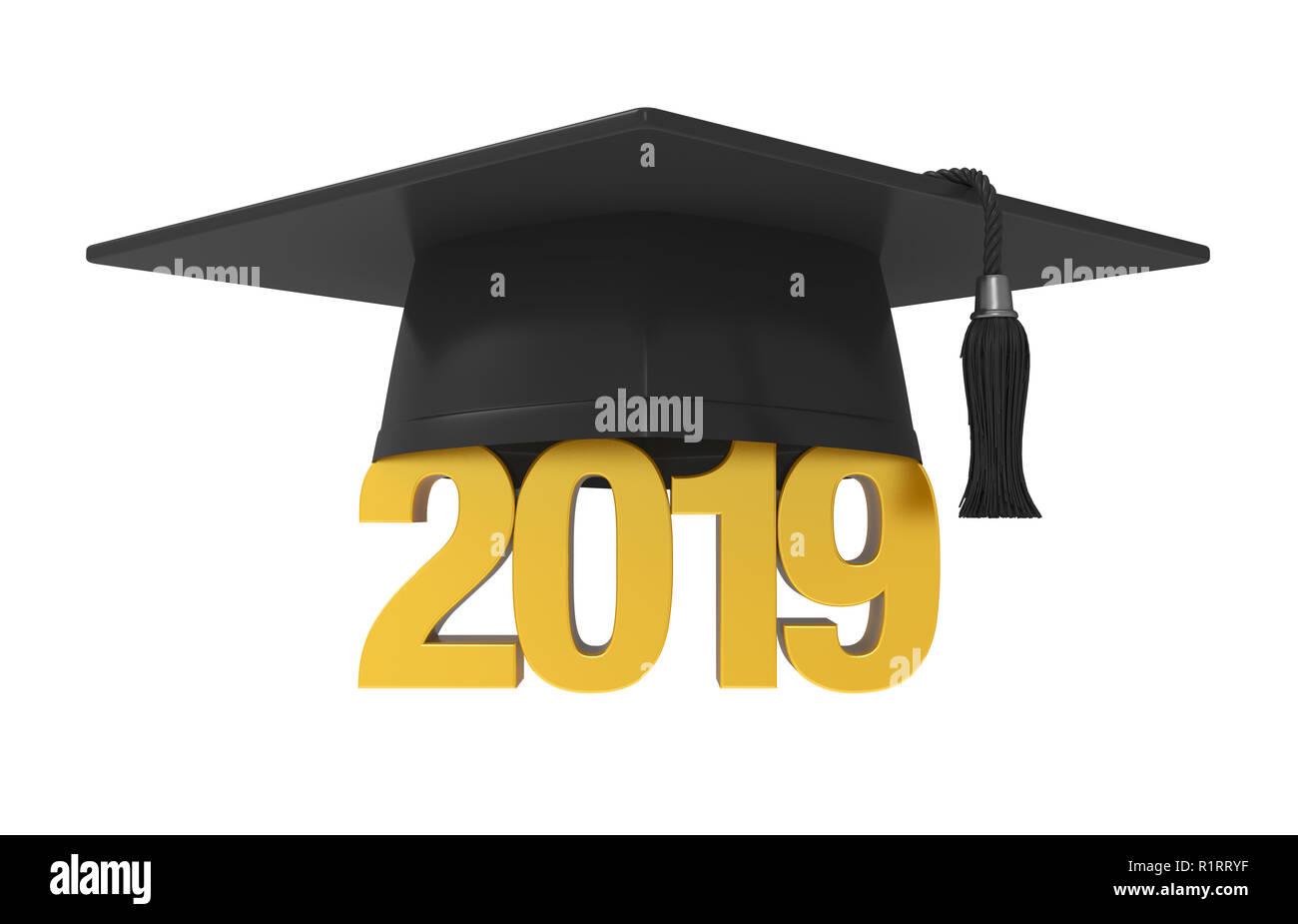 2019 Graduation Cap Isolated Stock Photo: 224873139 - Alamy