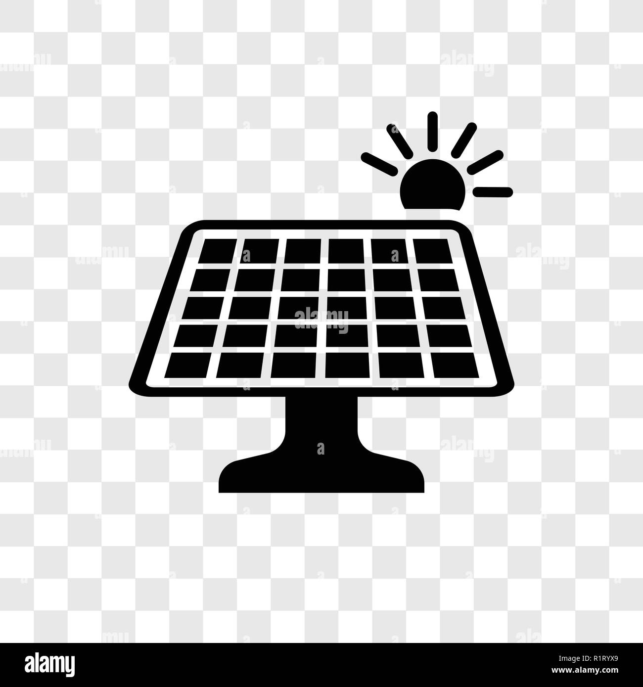 Solar panel vector icon isolated on transparent background, Solar panel transparency logo concept - Stock Image