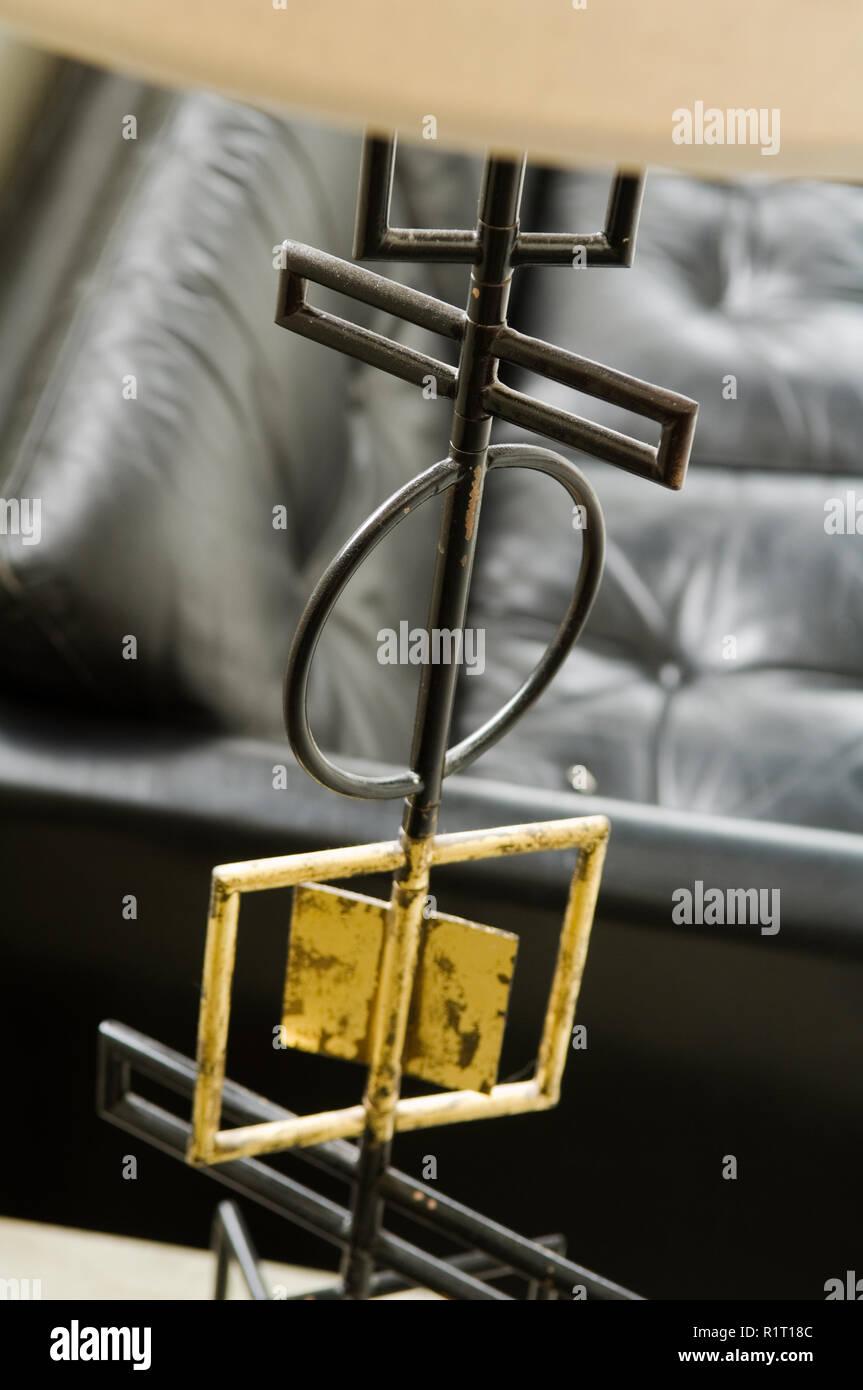 Metal detail of lamp - Stock Image