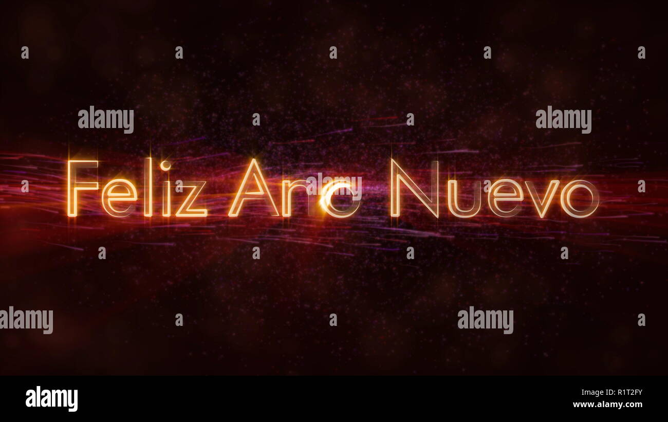 Happy New Year text in Spanish 'Feliz Ano Nuevo' loop animation over dark animated background with swirling stars and floating lines - Stock Image