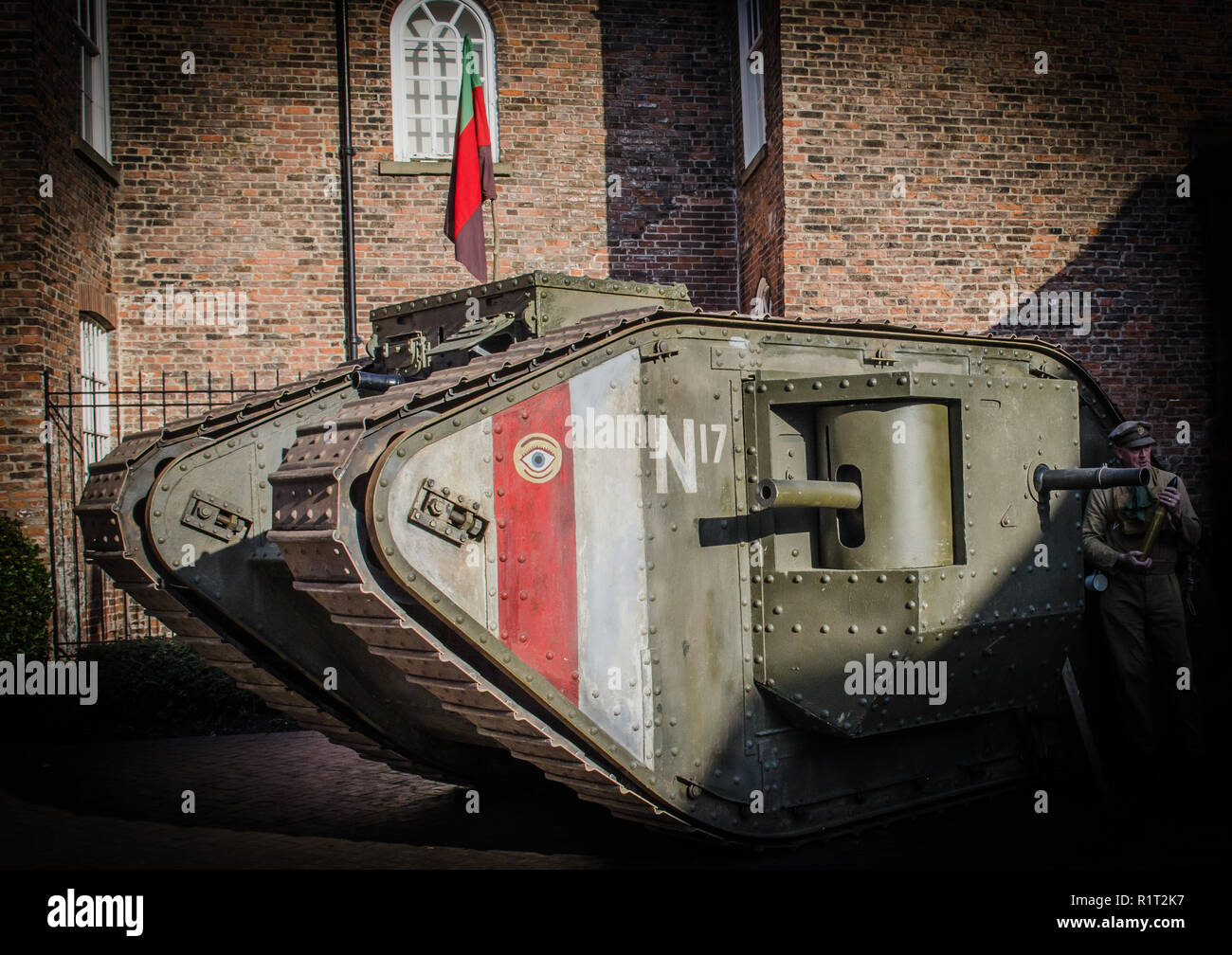 Mark IV world war one tank  full scale authentic reproduction with solider and flag - Stock Image