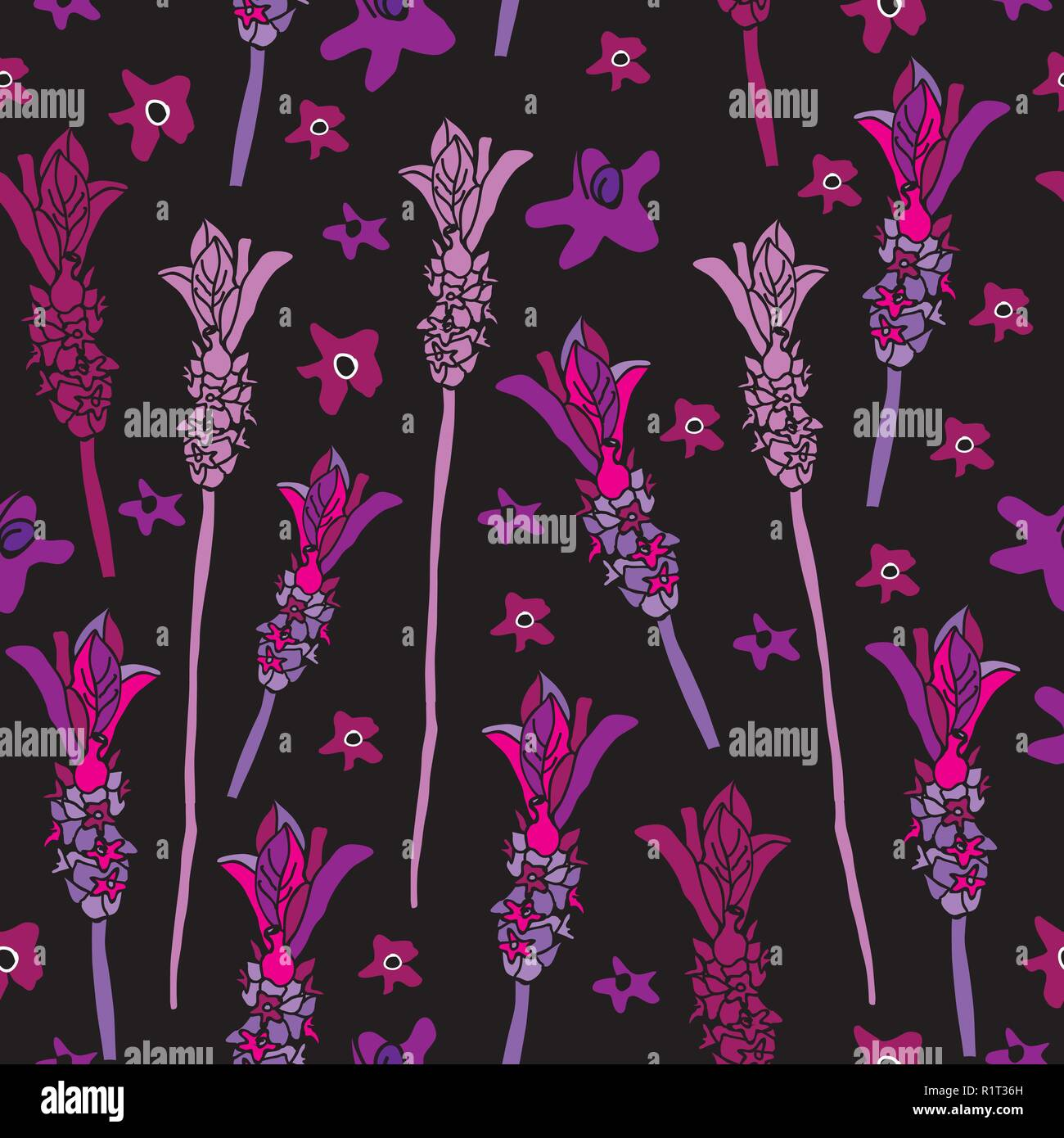 818fdf22c9fd French Lavender-Love in Parise Seamless Repeat Pattern on Black Background  . Light Pink and White Colors.