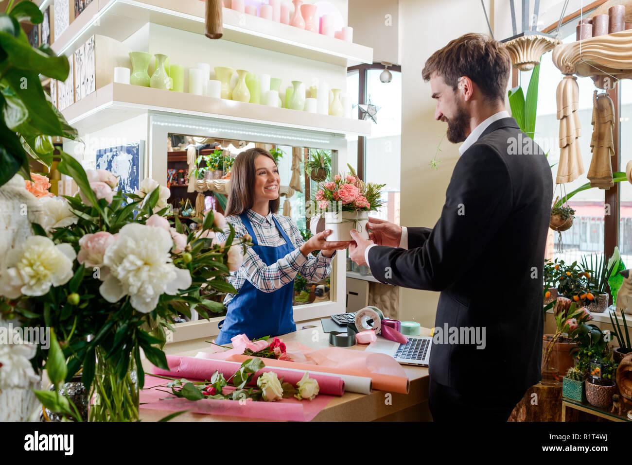 Gentleman bought bouquet - Stock Image