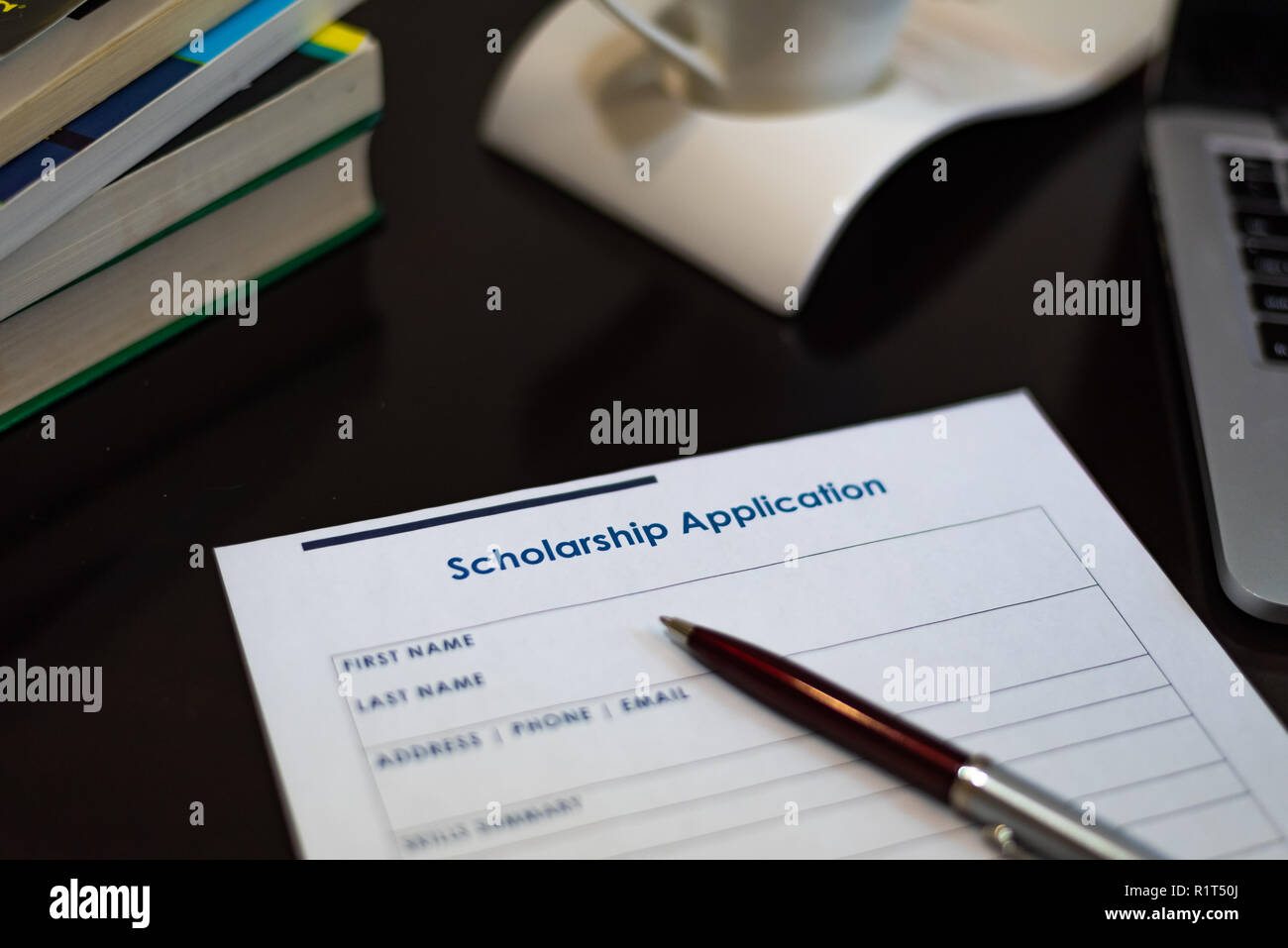 Scholarship application form for student graduate university college education funding - Stock Image