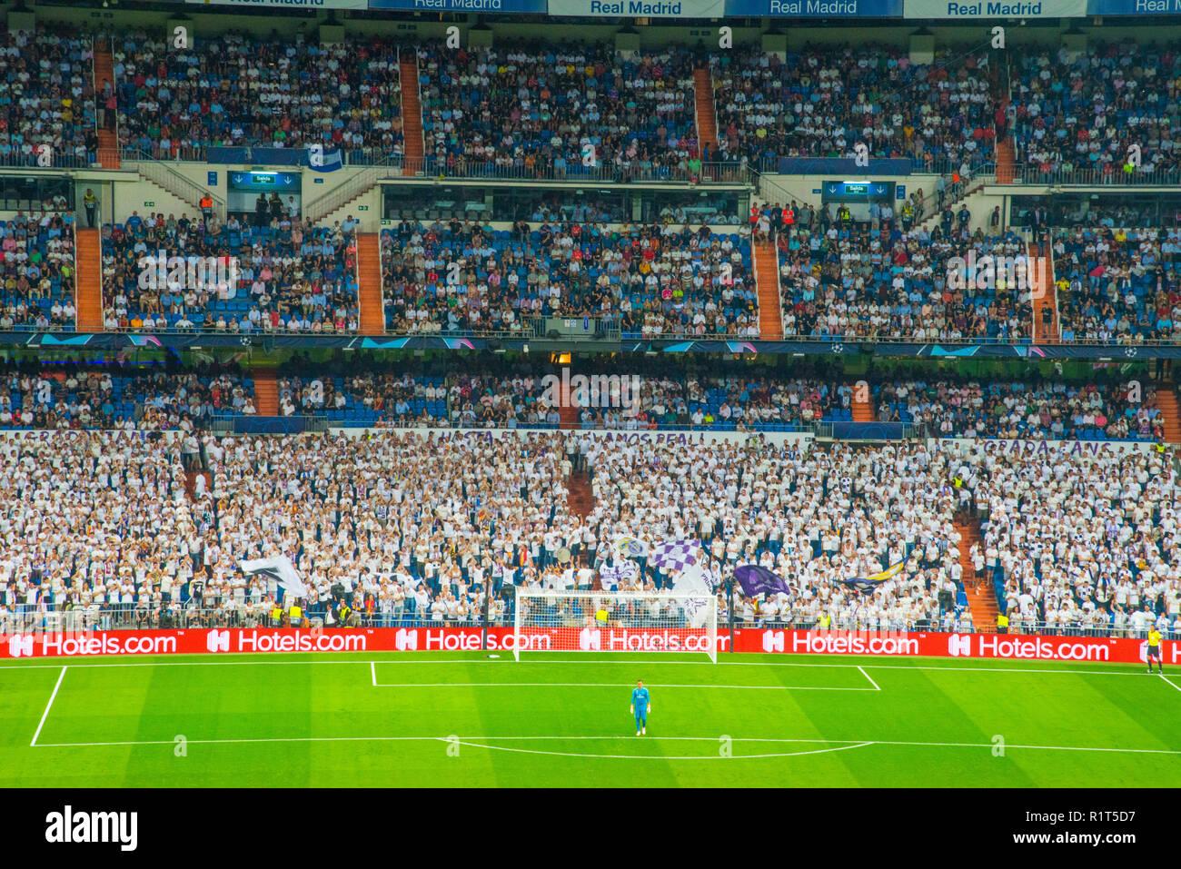 Football match, goalkeeper and fans. Santiago Bernabeu stadium, Madrid, Spain. - Stock Image