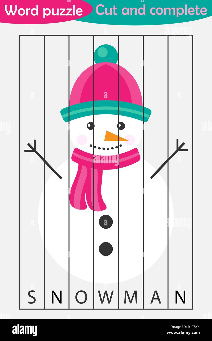 Word puzzle, snowman in cartoon style, christmas education game for development of preschool children, use scissors, cut parts of the image and comple - Stock Vector