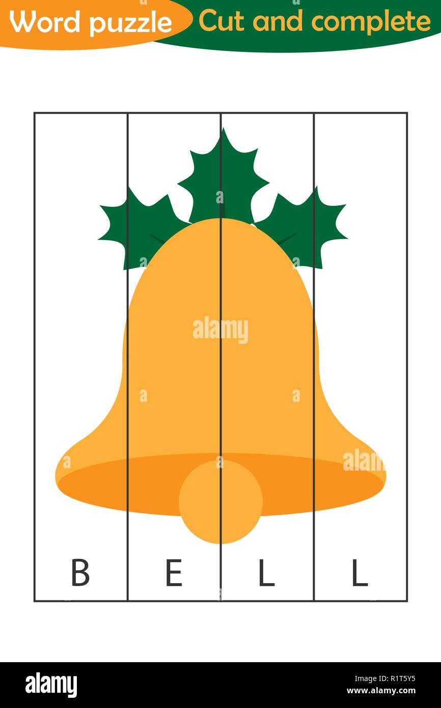 Word puzzle, xmas bell in cartoon style, christmas education game for development of preschool children, use scissors, cut parts of the image and comp - Stock Vector