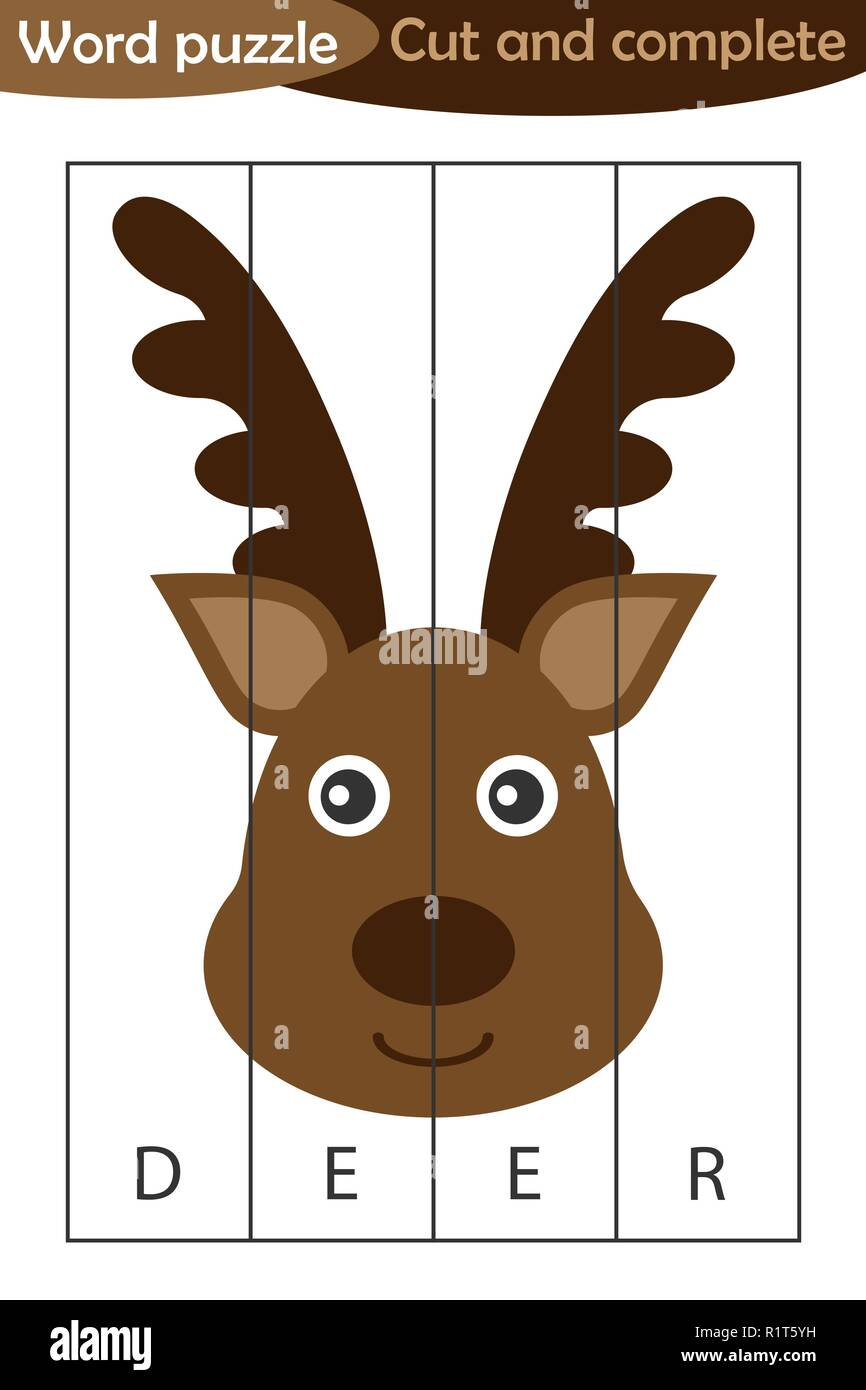 Word puzzle, xmas deer in cartoon style, christmas education game for development of preschool children, use scissors, cut parts of the image and comp - Stock Vector