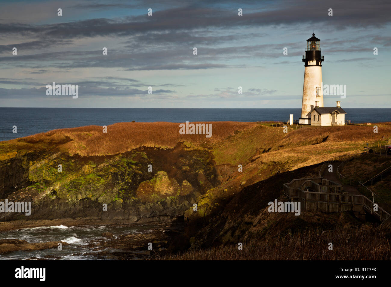 OR02385-00...OREGON - Yaquina Head Lighthouse in the Yaquina Head Outstanding Natural Area. Stock Photo