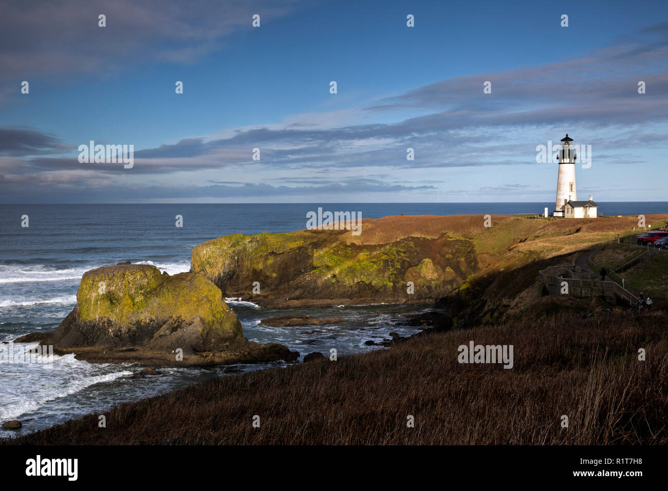 OR02386-00...OREGON - Yaquina Head Lighthouse in the Yaquina Head Outstanding Natural Area. Stock Photo