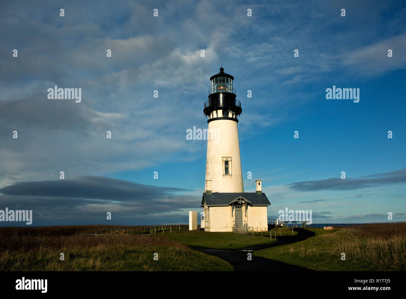 OR02387-00...OREGON - Yaquina Head Lighthouse in the Yaquina Head Outstanding Natural Area. Stock Photo