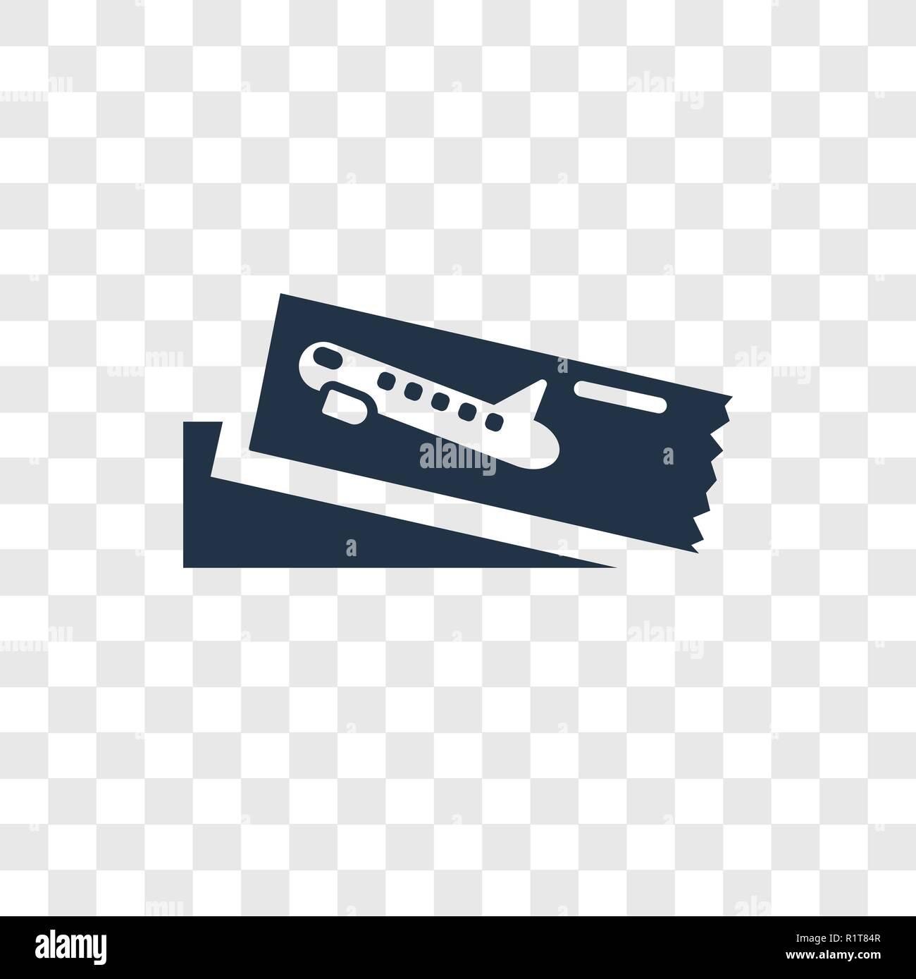Boarding Pass Vector Icon Isolated On Transparent Background