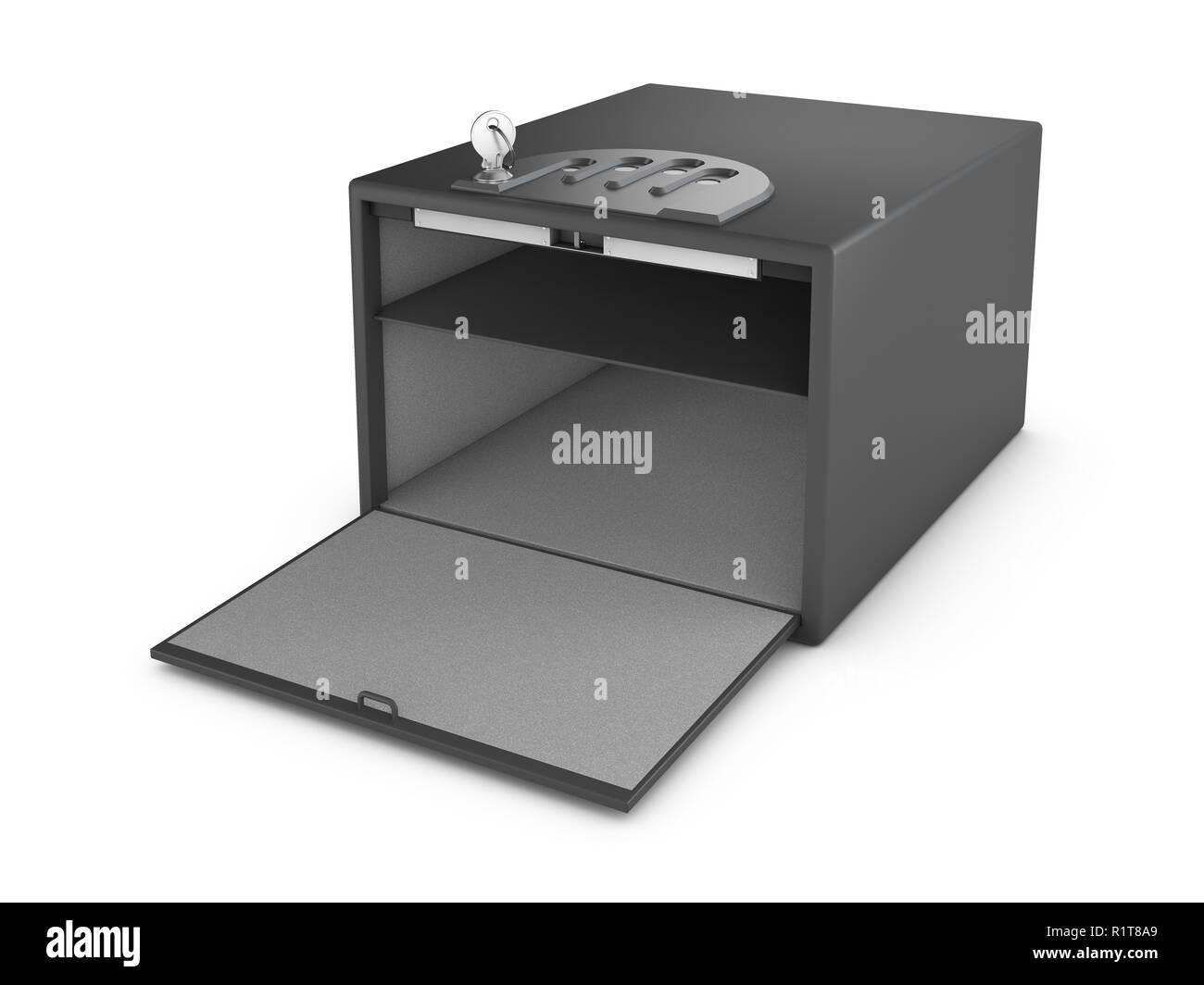 Metal Safe Realistic 3D Illustration On White Background - Stock Image
