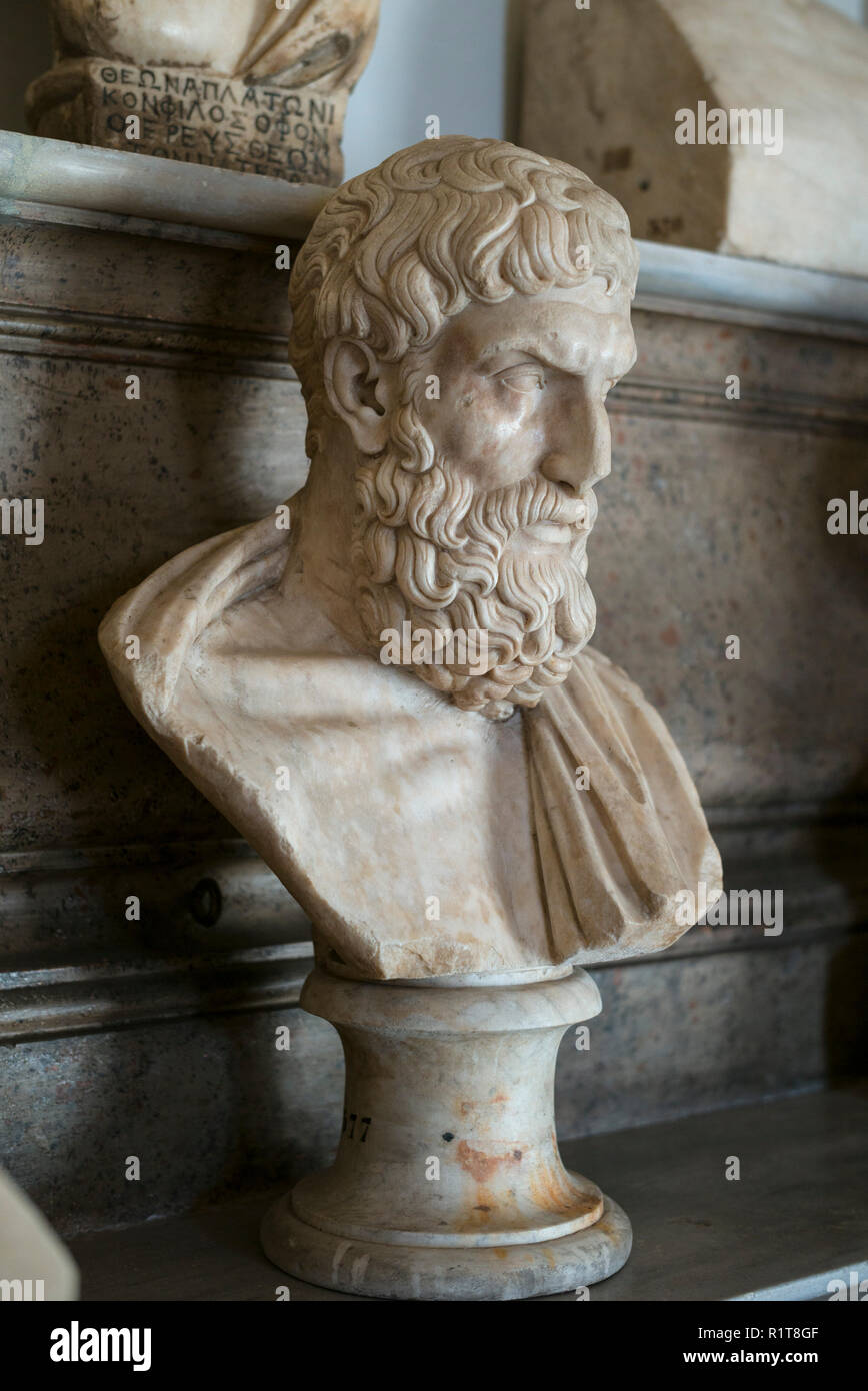 Rome. Italy. Portrait bust of Epicurus (341–270 BC) in the Hall of the Philosophers, Capitoline Museums. Musei Capitolini.  Marble Roman copy of a Gre Stock Photo