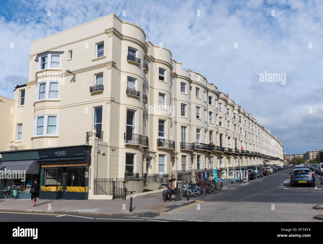 Terraced flats along Brunswick Place, built in Regency architecture style in Hove, East Sussex, England, UK. - Stock Image