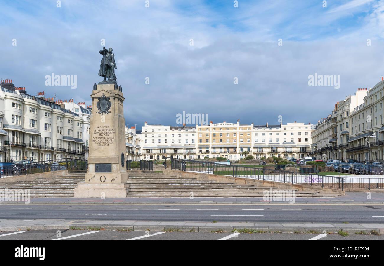 South African War Memorial (1905) for fallen men of Royal Sussex Regiment at Regency Square in Brighton, East Sussex, England, UK. - Stock Image