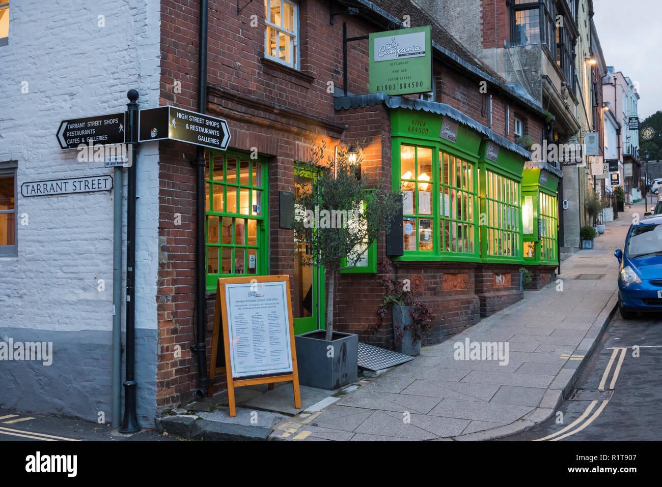 La Campania Restaurant & Wine Bar in Arundel, West Sussex, England, UK. - Stock Image
