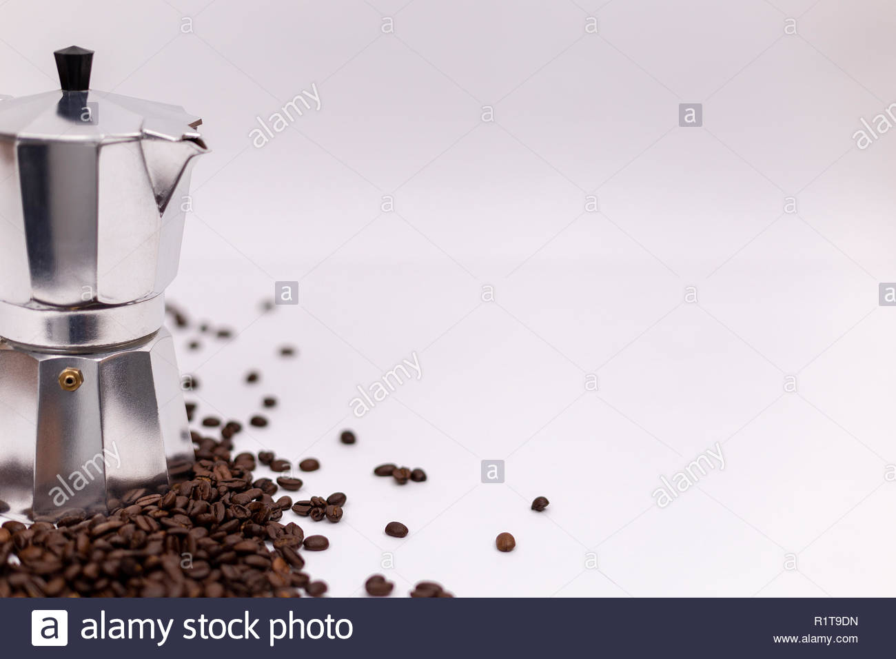 Coffee Maker Caffettiera With Coffee Beans On White Background