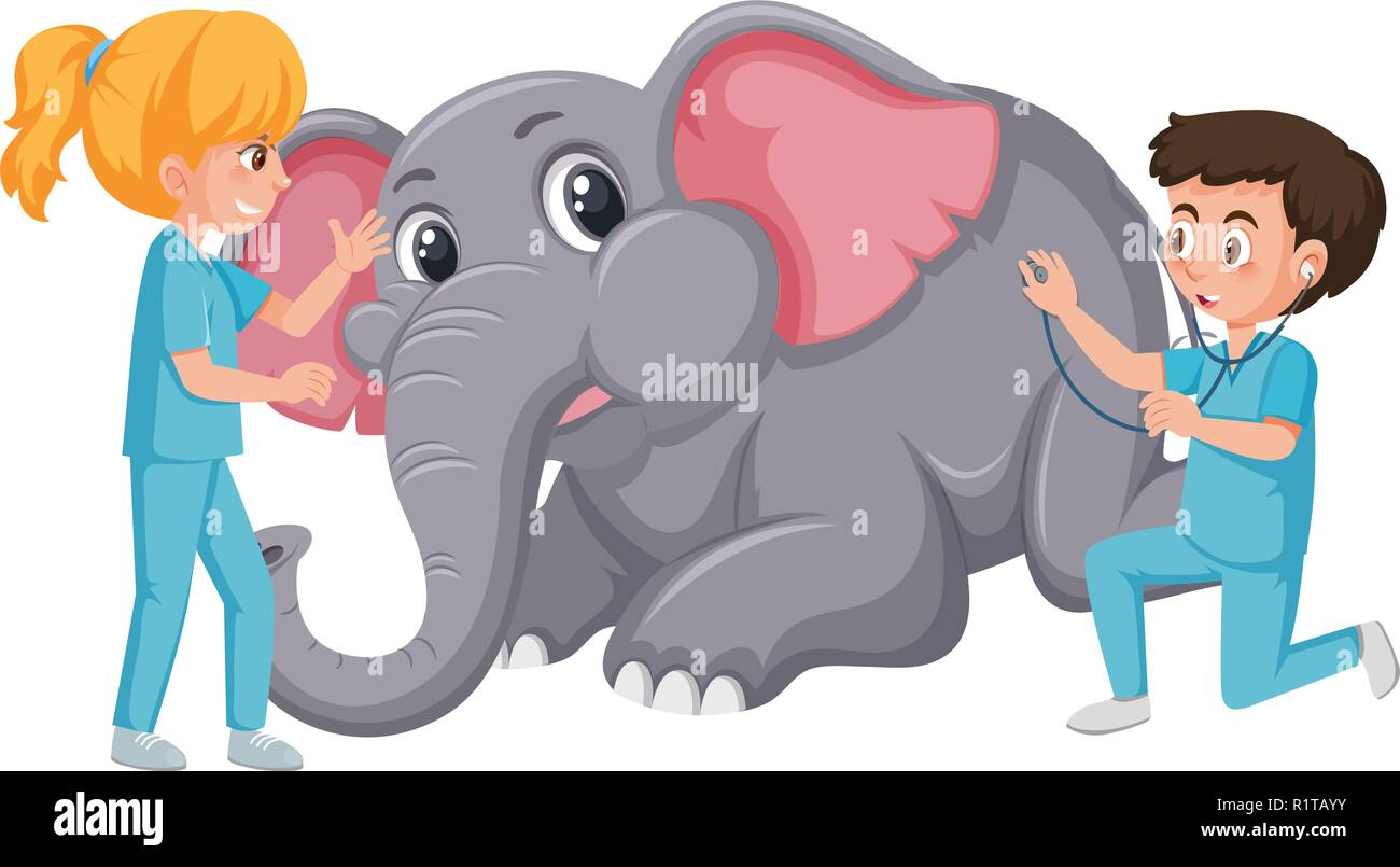 Vet giving injection to elephant illustration - Stock Vector