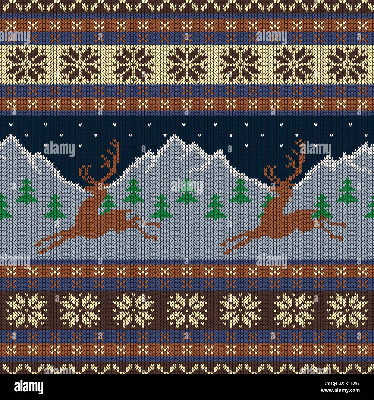 Knitted wool tapestry with deers on a background of snow-capped mountains and a starry sky - Stock Vector