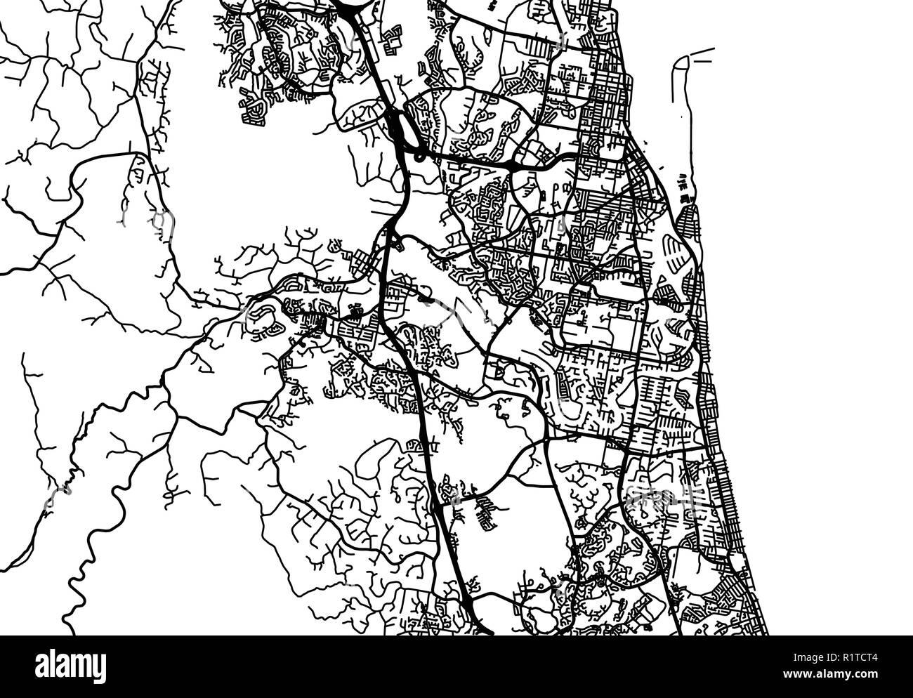 Urban Vector City Map Of Gold Coast Australia Stock Vector Art