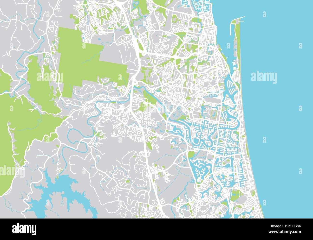 Australia Map Gold Coast.Urban Vector City Map Of Gold Coast Australia Stock Vector Art