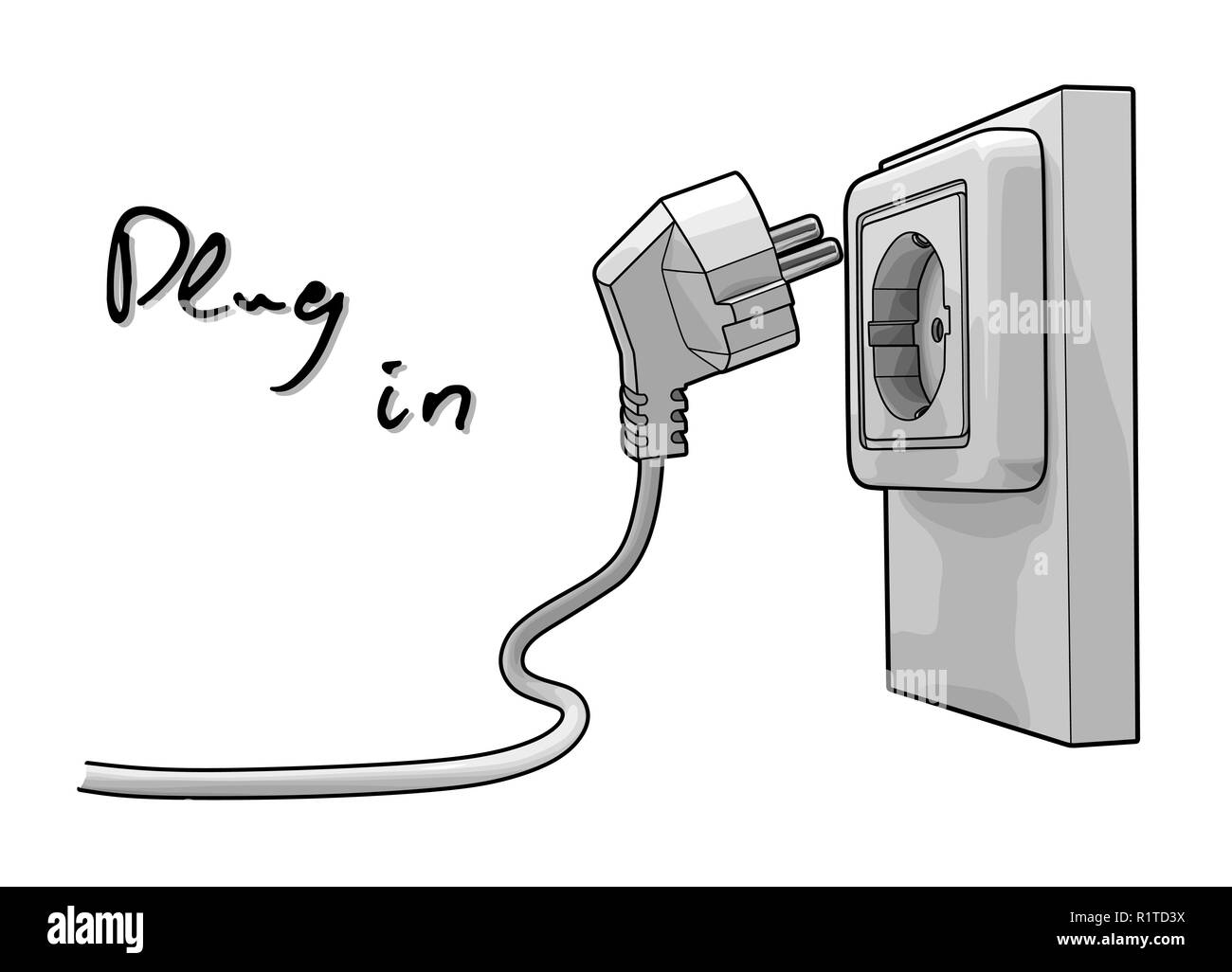 Electric Plug Black And White Stock Photos Images Alamy Simple Electrical Wiring Diagrams Wall Socket Electricity Vector Draw Image