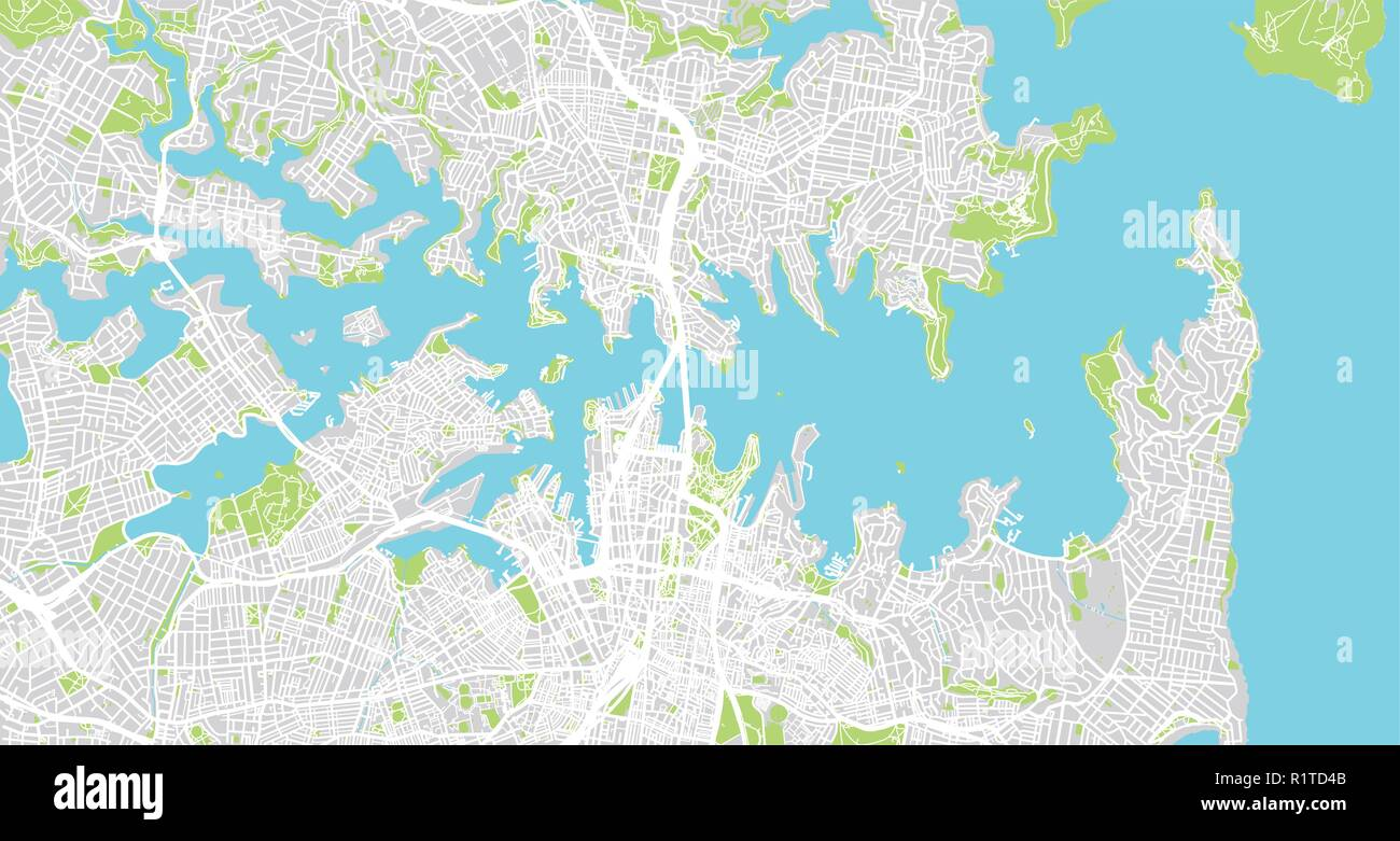 Sydney Australia Map City.Urban Vector City Map Of Sydney Australia Stock Vector Art
