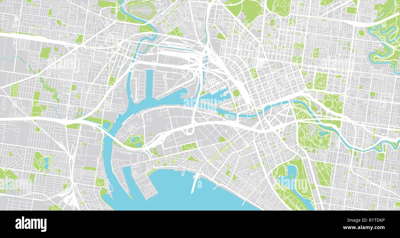 Map Of Melbourne Australia.Urban Vector City Map Of Melbourne Australia Stock Vector Art