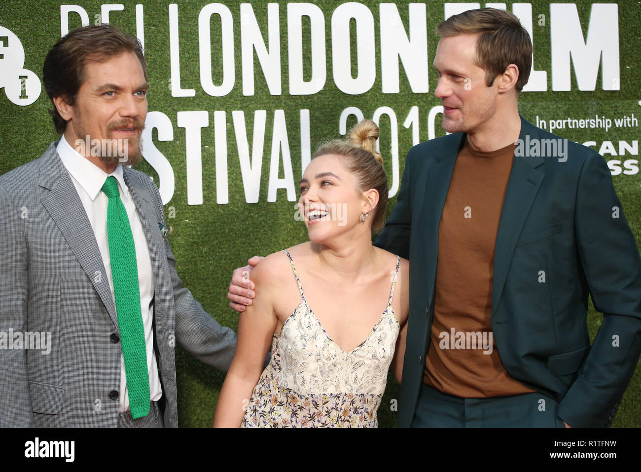 BFI London Film Festival The Little Drummer Girl premiere - Arrivals  Featuring: Michael Shannon, Florence Pugh, Alexander Skarsgard Where: London, United Kingdom When: 14 Oct 2018 Credit: Lia Toby/WENN.com - Stock Image