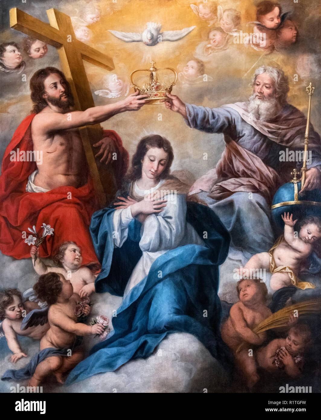 Coronation of the Virgin by Jaun Ruiz Soriano (1701-1763) - Stock Image